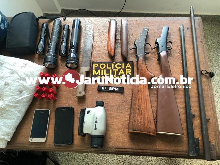 ATUALIZADA: PM em Jaru apreende armas de fogo, munições e vários apetrechos, possivelmente de caçadores