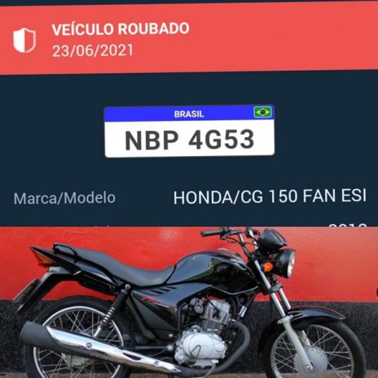 JARU- Ladrão furta motocicleta CG 150 FAN de cor preta, placa NBP-4G53 no jardim Europa, quem tiver informações ligue190